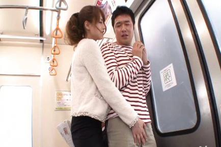 Akiho Yoshizawa Asian on heels sucks stranger weiner in subway