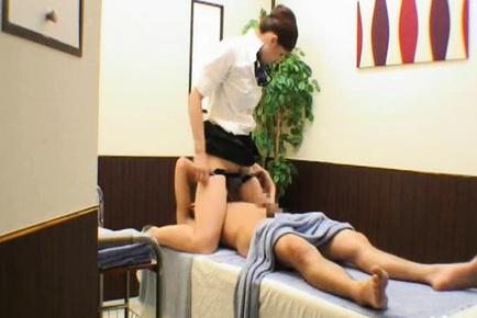 Japanese AV Model massages fellow and sits with vagina on his mouth. Japanese beauty Japanese AV Model