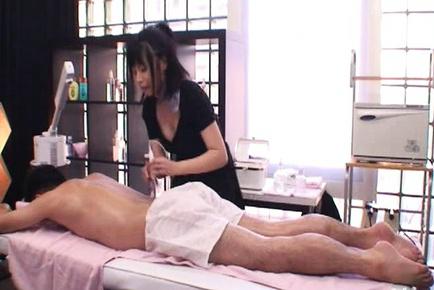 Japanese AV Model strokes hunk joystick after erotic massage. Japanese beauty Japanese AV Model