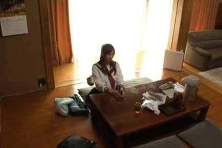 Chika Eiro Asian is undressed of uniform and boned on the floor. Japanese beauty Chika Eiro