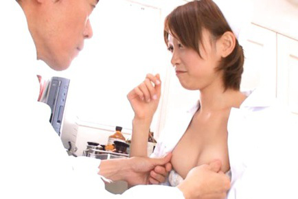 Mio Oichi Asian nurse gets big jugs exposed and aroused by boss