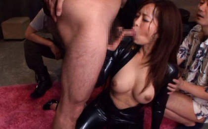 Kaori Asian nymphet with hot chest gets jizz on face from weiners. Japanese beauty Kaori