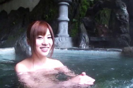 Kokomi Naruse Asian is touched on assets in the pool after coffee. Japanese beauty Kokomi Naruse