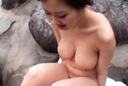 Sayuki Kanno Asian with huge knockers is pumped on rocks outdoor. Japanese beauty Sayuki Kanno
