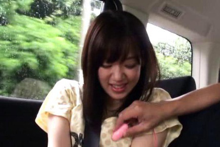 Rina Ooshima Asian is naughty in the car and strokes he penis. Japanese beauty Rina Ooshima