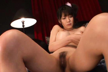 Yuuri Himeno Asian with huge cans gets climax from vibrocock. Japanese beauty Yuuri Himeno