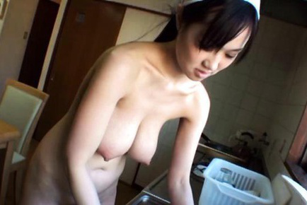 Sayuki kanno. Sayuki Kanno Asian with huge knockers cooks wearing nothing
