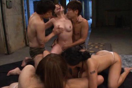 Hana haruna. Hana Haruna Asian and dames take dick in slits and between tits