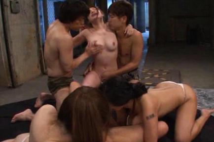 Hana haruna. Hana Haruna Asian and dames take cock in slits and between tits