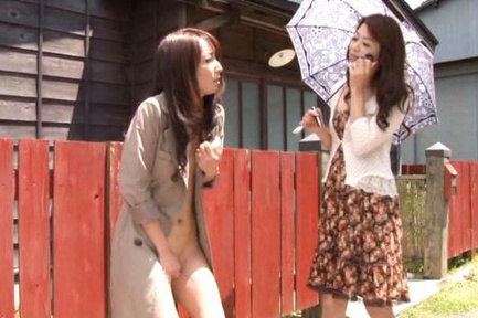Shiho Asian chick touches nude slit under coat in front of gal. Japanese beauty Shiho