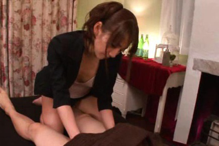 Saki kouzai. Saki Kouzai Asian in short skirt gives oil massage