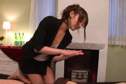 Saki kouzai. Saki Kouzai Asian in short skirt gives oil massage to shlong
