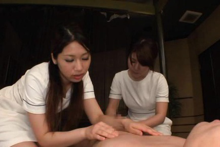 Japanese av model. Japanese AV Model and nurse massage man all over and rubs penish