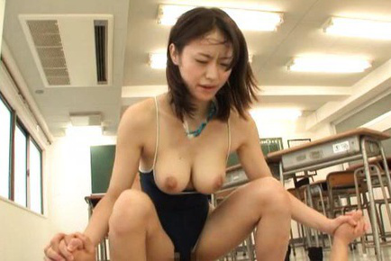 Kaede niiyama. Kaede Niiyama Asian with considerable jugs out of