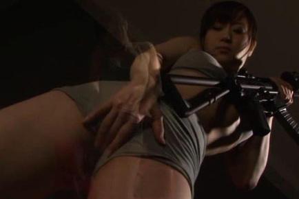 Japanese av model. Japanese AV Model busty takes panty off and rubs crack with a gun