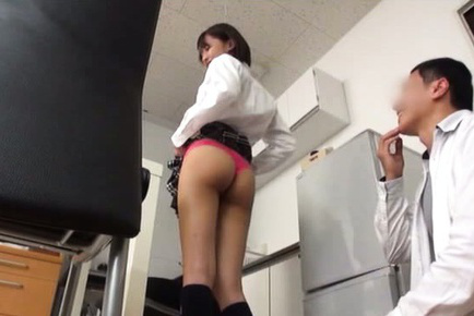 Japanese av model. Japanese AV Model shows hot booty in panty and tits in bra at job