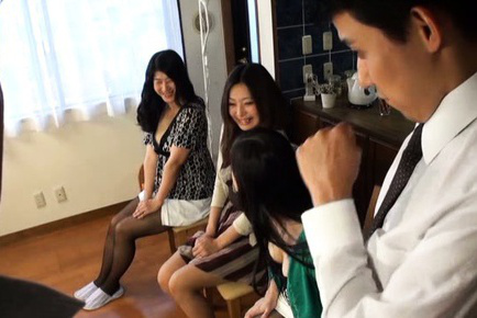 Japanese av model. Japanese AV Model and babes reveal jugs and puts them on man face