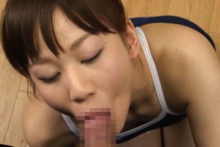 Yuri Shinomiya Asian in gym suit strokes and takes tool in mouth