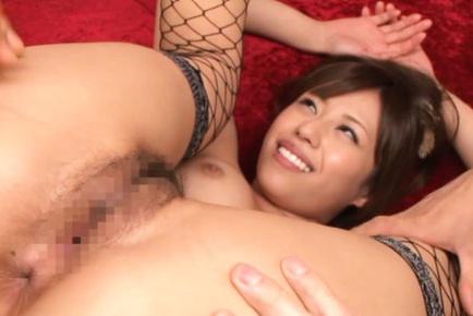 Chick Rina Rukawa smiles in fishnet stockings before hot fingering. Japanese beauty Rina Rukawa