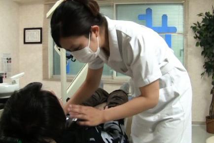 Japanese AV Model nurse tries to relax guy that came to dentist. Japanese beauty Japanese AV Model