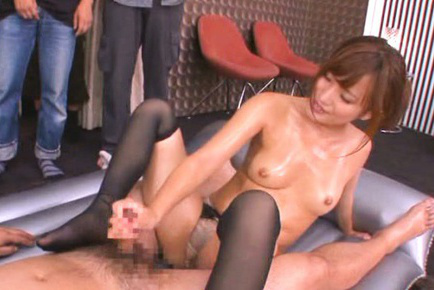 Kokone mizutani. Kokone Mizutani Asian with oiled breasts strokes shlong with public