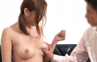 Japanese av model. Japanese AV Model in shirt uses dildo on slit in man front