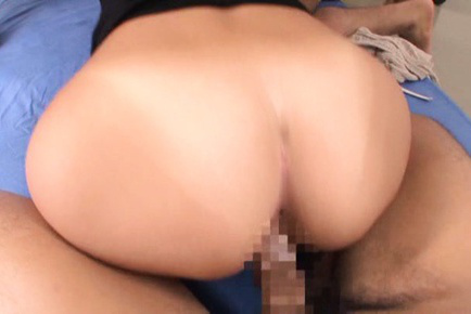 Nana Ogura Asian with hot bum is kissed on neck and pounded by men. Japanese beauty Nana Ogura