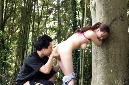 Japanese AV Model large-breasted is fingered and doggy nailed in forest. Japanese beauty Japanese AV Model