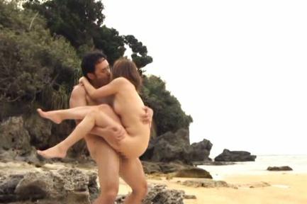 Yuuko Shiraki Asian with playful breasts rides boner on beach. Japanese beauty Yuuko Shiraki