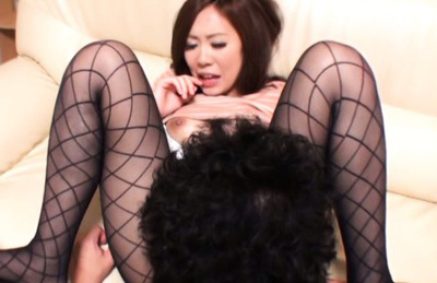 Kaori saejima. Kaori Saejima Asian curvy has twat licked through ripped nylon