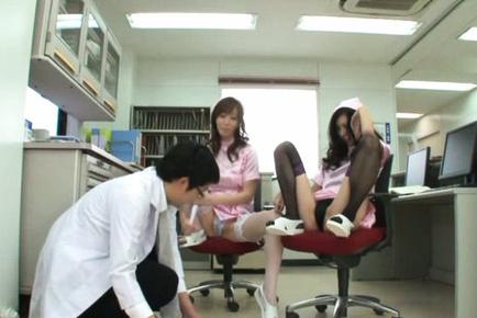 Japanese AV Model and nurse turn doctor on with legs in fishnets. Japanese beauty Japanese AV Model