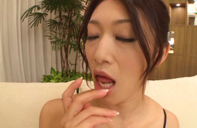 Reiko kobayakawa. Reiko Kobayakawa Asian with huge nude jugs rubs slit over panty