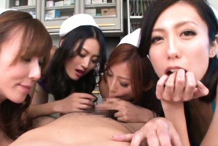 Japanese AV Model and nurses suck shlong and lick patient teats. Japanese beauty Japanese AV Model