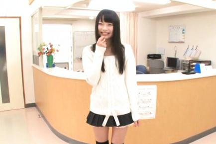 Arina Sakita Asian has knockers checked by doctor on medical chair. Japanese beauty Arina Sakita