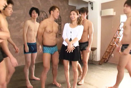 Akari asahina. Graceful Akari Asahina undresses and shows tits to hungry fellows