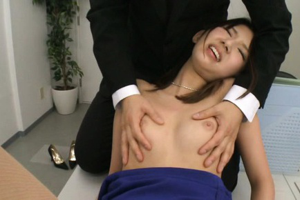 Rumi Kamida Asian has juicy boobies undressed and aroused by males. Japanese beauty Rumi Kamida