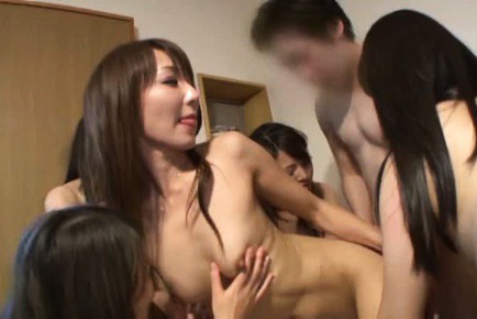 Japanese av model. Japanese AV Model and friends kissing and getting naughty