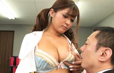 Satou haruka. Curvy Satou Haruka surprises office man with her melons