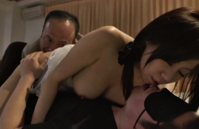 Chihiro akino. Chihiro Akino Asian busty has kitty licked while kissing fellow