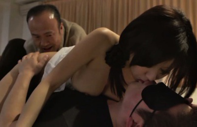 Chihiro akino. Chihiro Akino Asian busty has pussy licked while kissing fellow