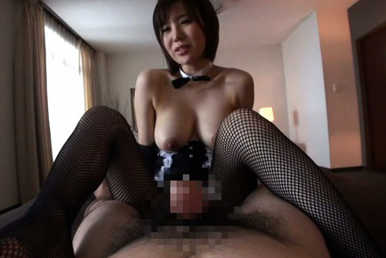 Nanako mori. Nanako Mori Asian with bunny ears reveals one of her large boobs