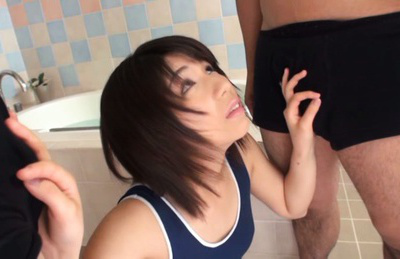 Koharu Aoi has wooly gash touched under lingerie and sucks shlongs