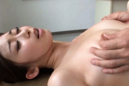 Japanese av model. Japanese AV Model has nipples rubbed and legs wide open in fuck