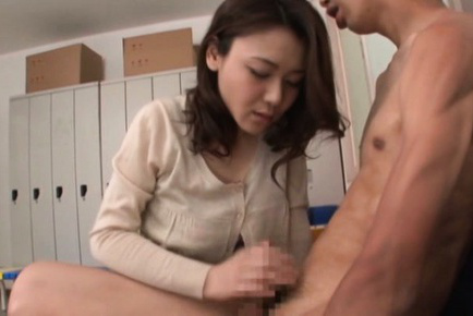 Japanese av model. Japanese AV Model undresses man and gets his