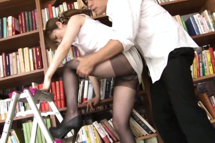 Miku ohashi. Miku Ohashi Asian has vagina rubbed over stockings at the library