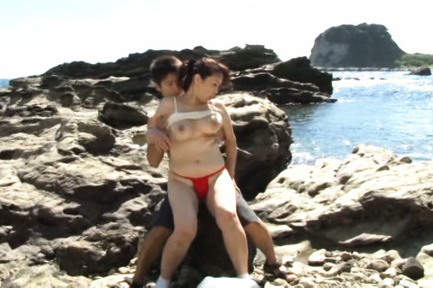Yuuko kuremachi. Yuuko Kuremachi has nasty analy cheeks and large jugs tocuhed on rock