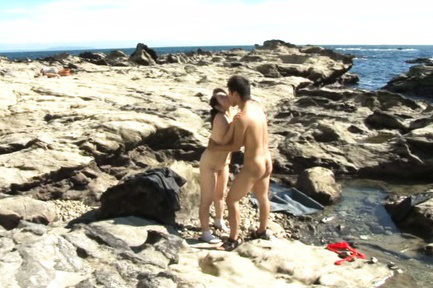 Yuuko kuremachi. Yuuko Kuremachi with huge cans gets cock under cloth at the ocean