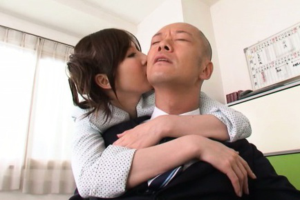 Yui tatsumi. Yui Tatsumi Asian bites boss ear and touches his massive penis