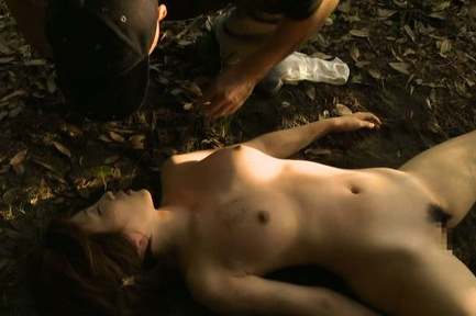 Japanese av model. Japanese AV Model with round jugs is found naked in the woods