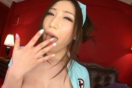 Sayuki kanno. Sayuki Kanno Asian plays with her huge breasts